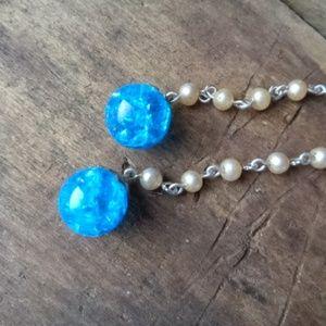 Vintage Glass Crackle Blue & Faux Pearl Necklace